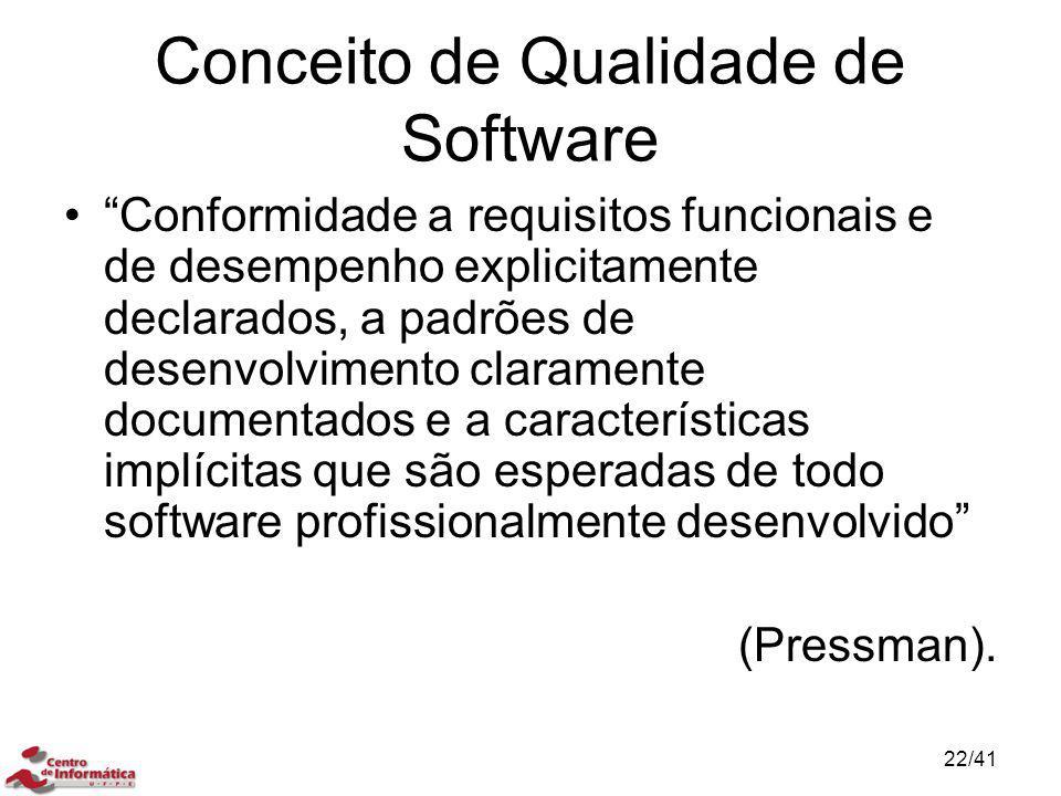 """Conceito de Qualidade de Software """"Conformidade a requisitos funcionais e de desempenho explicitamente declarados, a padrões de desenvolvimento claram"""