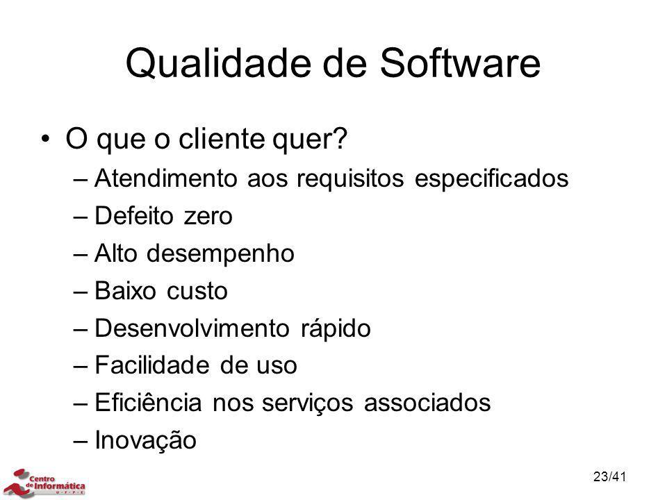 Qualidade de Software O que o cliente quer? –Atendimento aos requisitos especificados –Defeito zero –Alto desempenho –Baixo custo –Desenvolvimento ráp