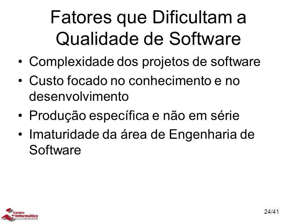 Fatores que Dificultam a Qualidade de Software Complexidade dos projetos de software Custo focado no conhecimento e no desenvolvimento Produção especí