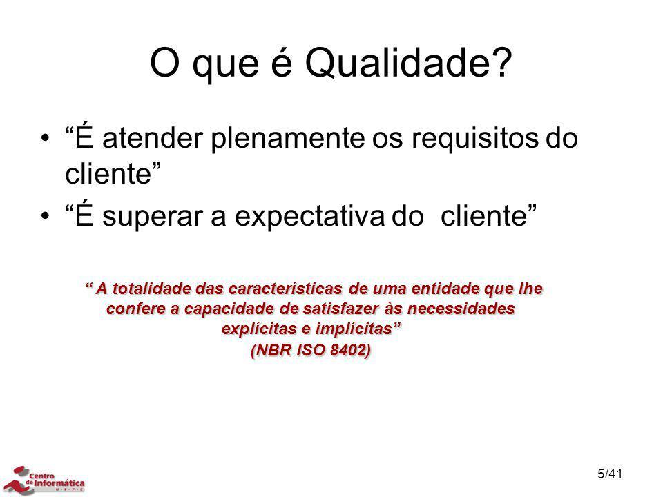 """O que é Qualidade? """"É atender plenamente os requisitos do cliente"""" """"É superar a expectativa do cliente"""" """" A totalidade das características de uma enti"""