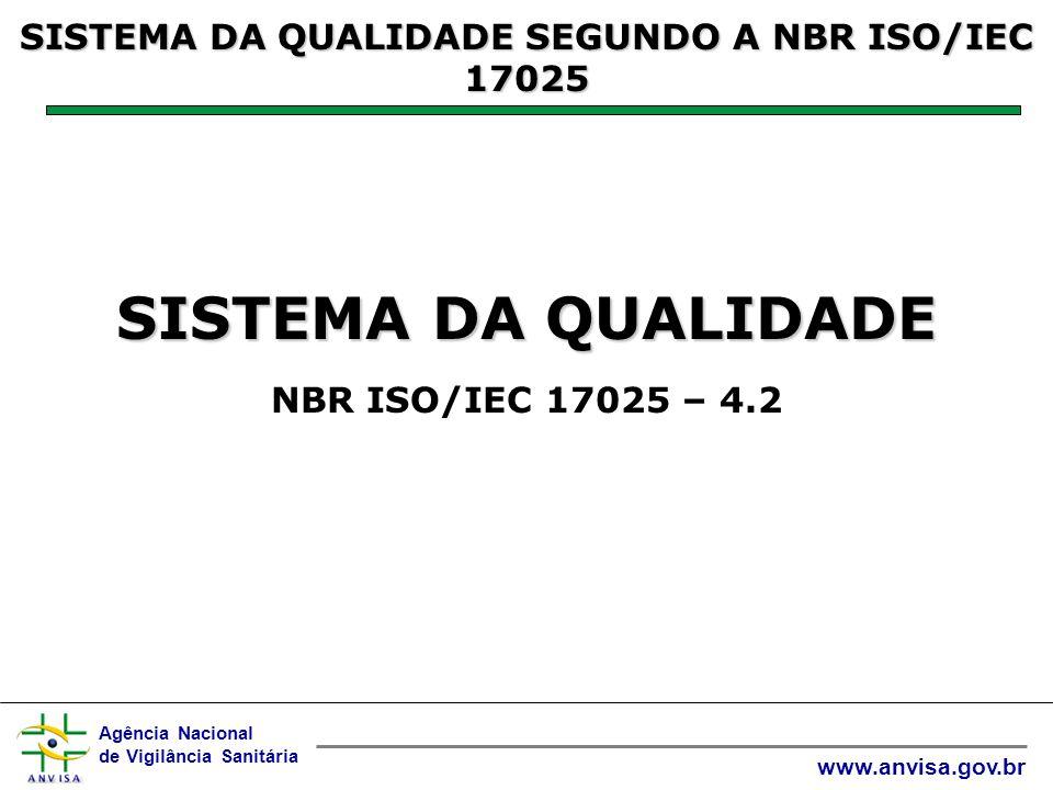 Agência Nacional de Vigilância Sanitária www.anvisa.gov.br SISTEMA DA QUALIDADE SISTEMA DA QUALIDADE NBR ISO/IEC 17025 – 4.2 SISTEMA DA QUALIDADE SEGUNDO A NBR ISO/IEC 17025