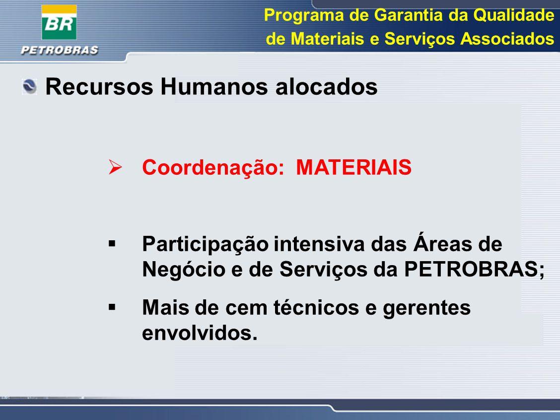 Programa de Garantia da Qualidade de Materiais e Serviços Associados  Coordenação: MATERIAIS  Participação intensiva das Áreas de Negócio e de Servi