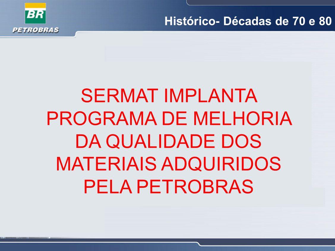 SERMAT IMPLANTA PROGRAMA DE MELHORIA DA QUALIDADE DOS MATERIAIS ADQUIRIDOS PELA PETROBRAS Histórico- Décadas de 70 e 80
