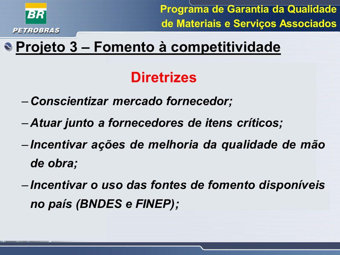 Programa de Garantia da Qualidade de Materiais e Serviços Associados Projeto 3 – Fomento à competitividade Diretrizes –Conscientizar mercado fornecedo