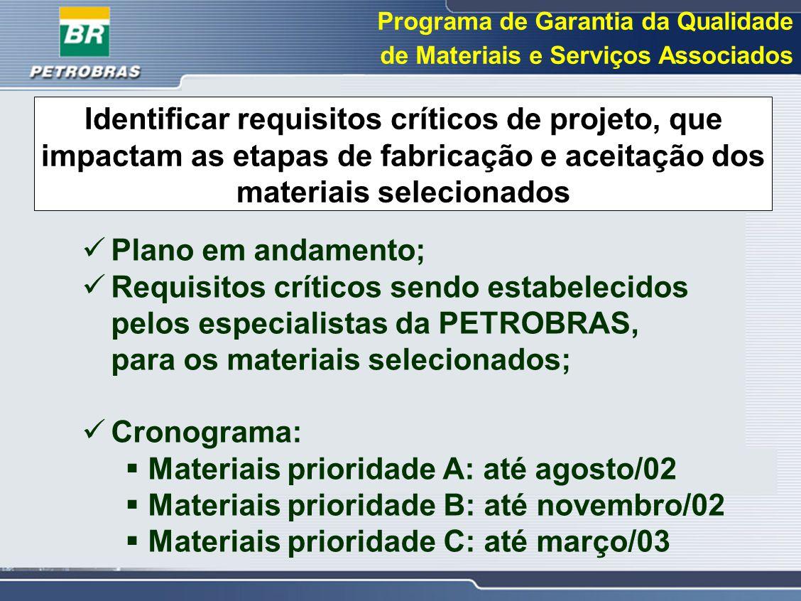 Programa de Garantia da Qualidade de Materiais e Serviços Associados Identificar requisitos críticos de projeto, que impactam as etapas de fabricação