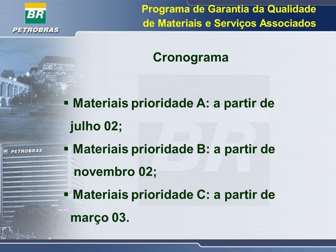 Cronograma  Materiais prioridade A: a partir de julho 02;  Materiais prioridade B: a partir de novembro 02;  Materiais prioridade C: a partir de ma