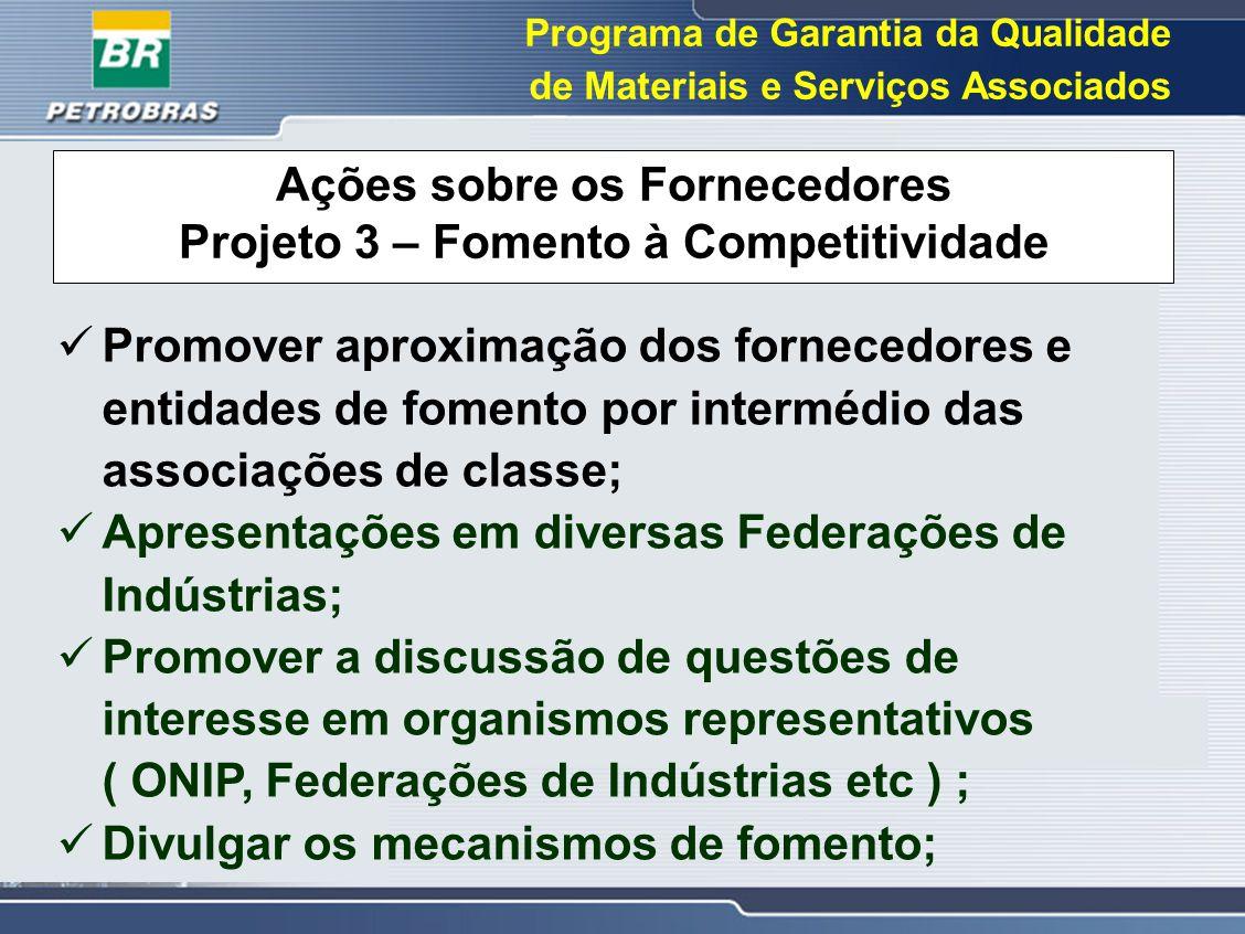 Programa de Garantia da Qualidade de Materiais e Serviços Associados Ações sobre os Fornecedores Projeto 3 – Fomento à Competitividade Promover aproxi