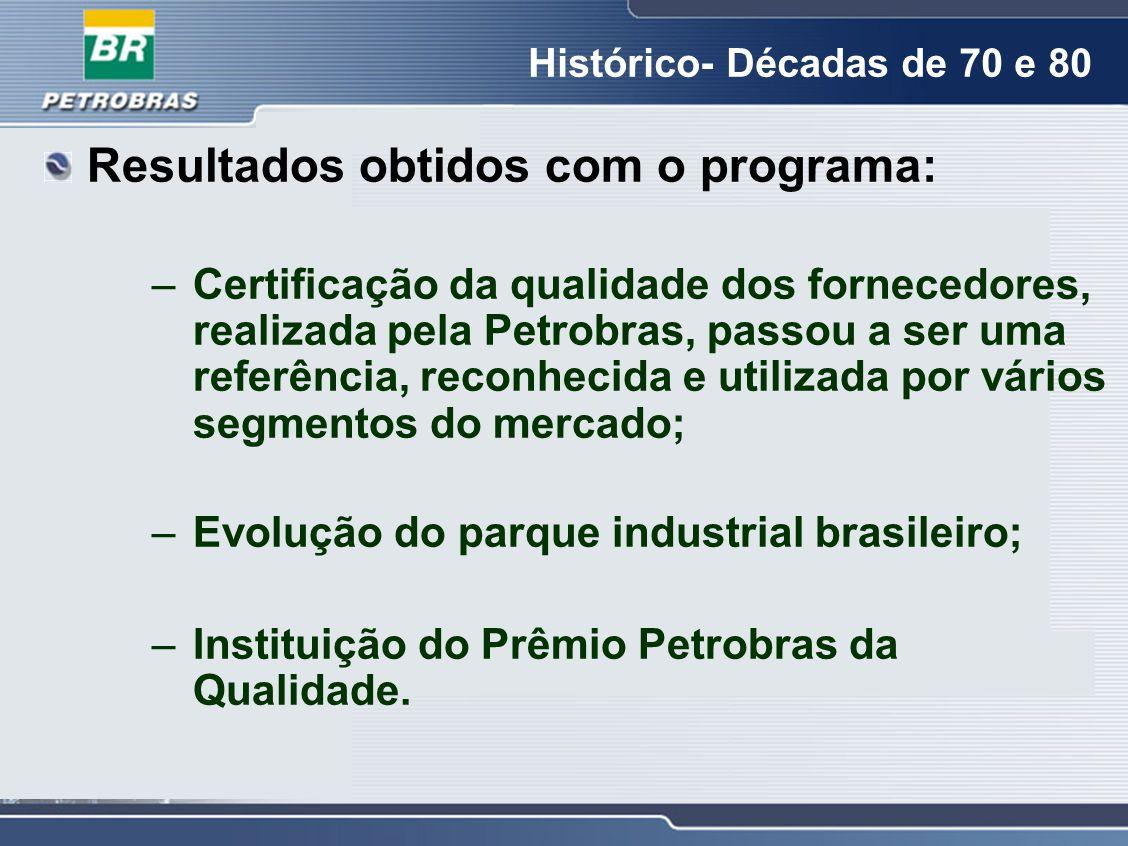 Resultados obtidos com o programa: –Certificação da qualidade dos fornecedores, realizada pela Petrobras, passou a ser uma referência, reconhecida e u