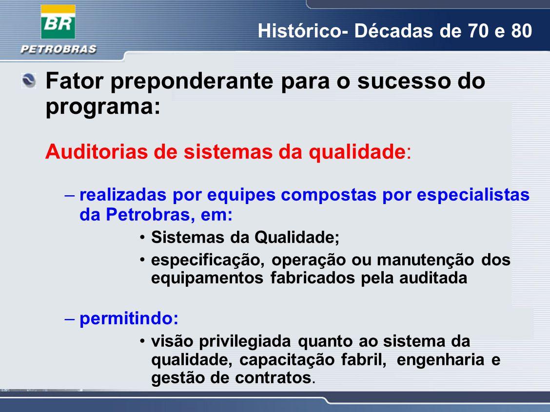 Fator preponderante para o sucesso do programa: Auditorias de sistemas da qualidade: –realizadas por equipes compostas por especialistas da Petrobras,