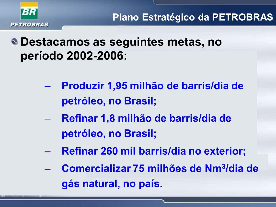 Destacamos as seguintes metas, no período 2002-2006: –Produzir 1,95 milhão de barris/dia de petróleo, no Brasil; –Refinar 1,8 milhão de barris/dia de