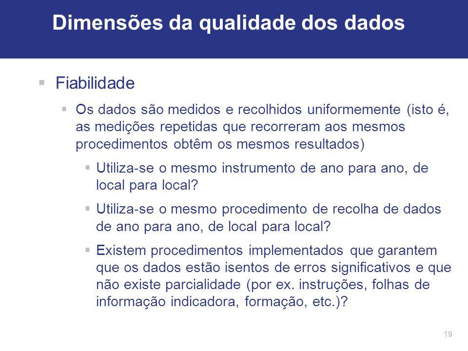 19 Dimensões da qualidade dos dados  Fiabilidade  Os dados são medidos e recolhidos uniformemente (isto é, as medições repetidas que recorreram aos