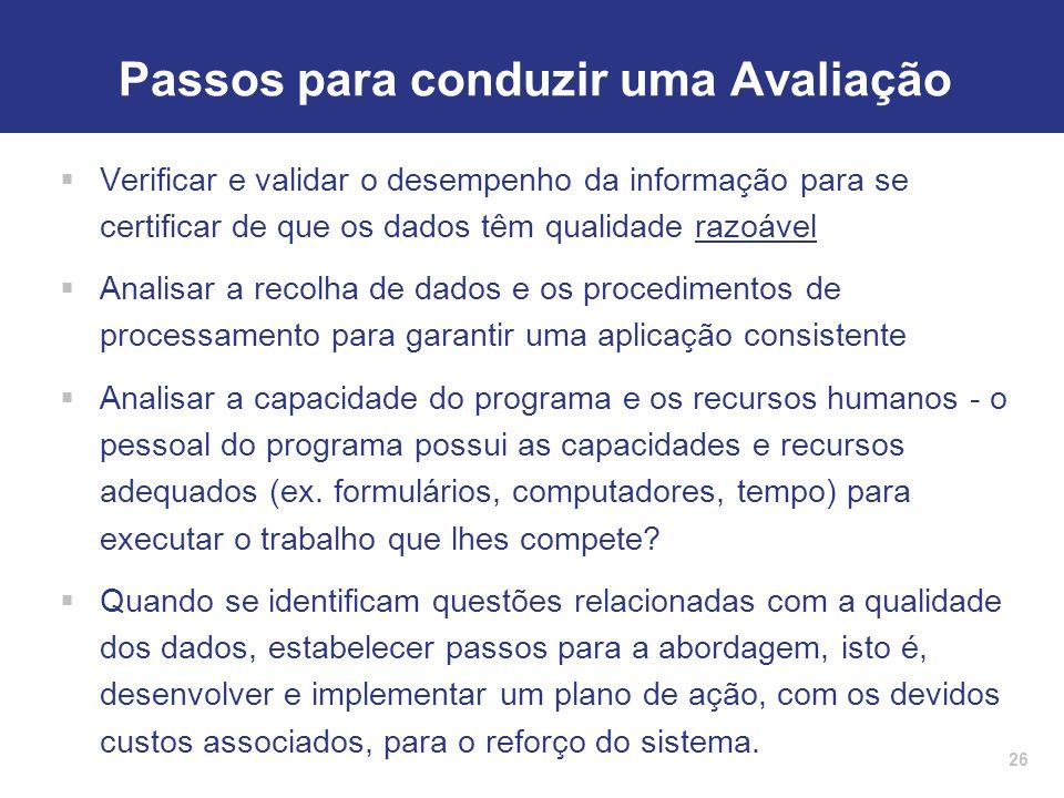 26 Passos para conduzir uma Avaliação  Verificar e validar o desempenho da informação para se certificar de que os dados têm qualidade razoável  Ana