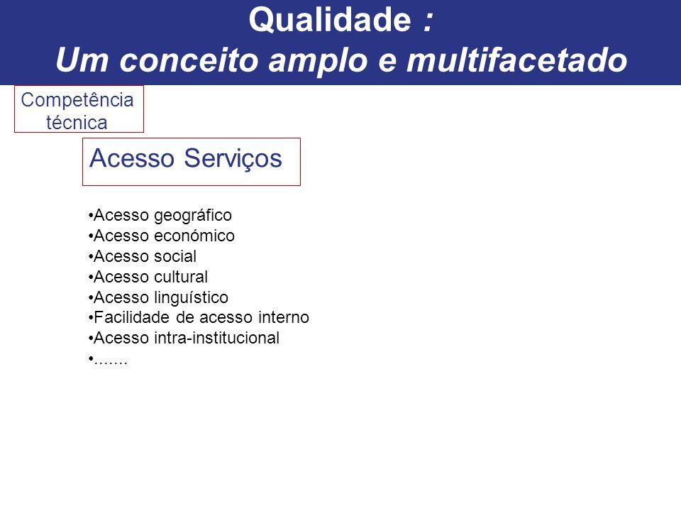 Competência técnica Acesso Serviços Acesso geográfico Acesso económico Acesso social Acesso cultural Acesso linguístico Facilidade de acesso interno A