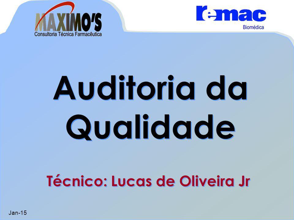 Auditoria da Qualidade Jan-15 Auditoria da Qualidade Técnico: Lucas de Oliveira Jr