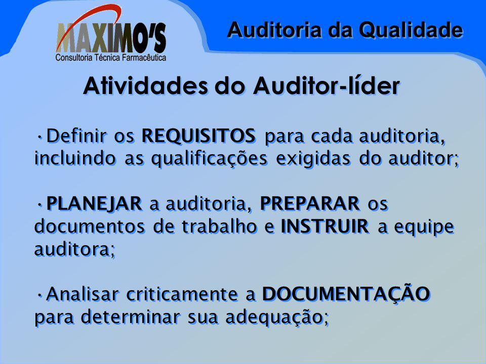 Auditoria da Qualidade Atividades do Auditor-líder Definir os REQUISITOS para cada auditoria, incluindo as qualificações exigidas do auditor; PLANEJAR a auditoria, PREPARAR os documentos de trabalho e INSTRUIR a equipe auditora; Analisar criticamente a DOCUMENTAÇÃO para determinar sua adequação; Definir os REQUISITOS para cada auditoria, incluindo as qualificações exigidas do auditor; PLANEJAR a auditoria, PREPARAR os documentos de trabalho e INSTRUIR a equipe auditora; Analisar criticamente a DOCUMENTAÇÃO para determinar sua adequação;