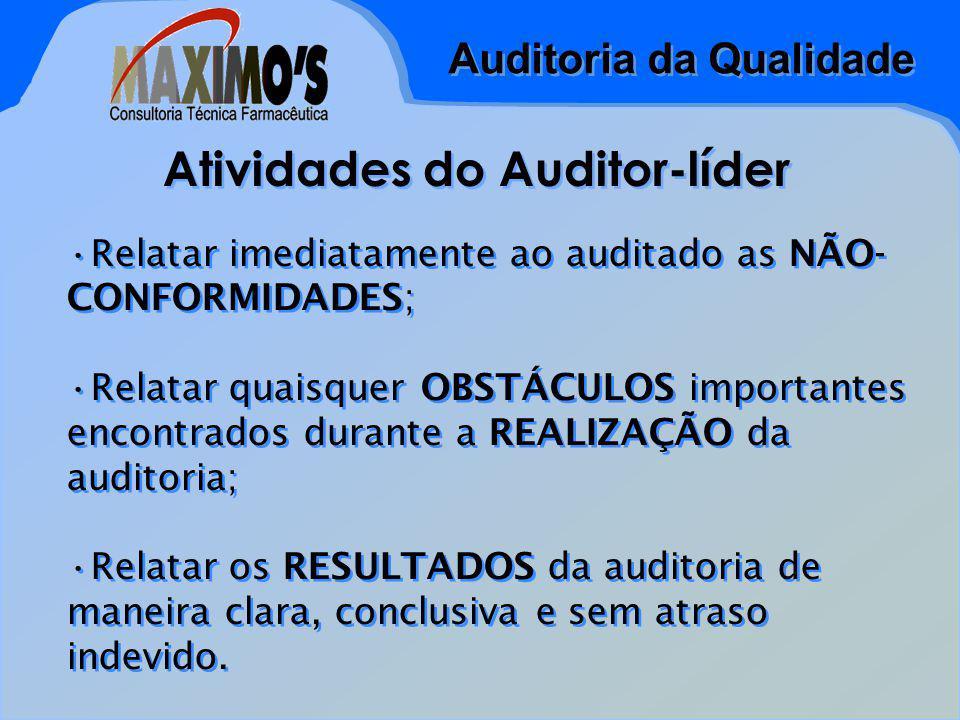 Auditoria da Qualidade Atividades do Auditor-líder Relatar imediatamente ao auditado as NÃO- CONFORMIDADES; Relatar quaisquer OBSTÁCULOS importantes encontrados durante a REALIZAÇÃO da auditoria; Relatar os RESULTADOS da auditoria de maneira clara, conclusiva e sem atraso indevido.