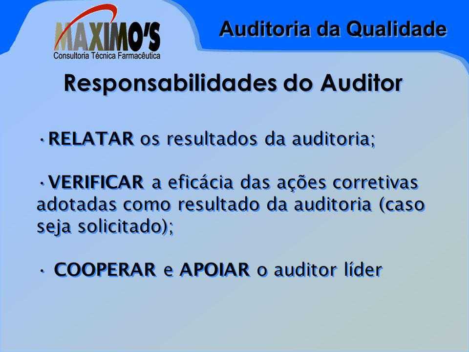 Auditoria da Qualidade Responsabilidades do Auditor RELATAR os resultados da auditoria; VERIFICAR a eficácia das ações corretivas adotadas como resultado da auditoria (caso seja solicitado); COOPERAR e APOIAR o auditor líder RELATAR os resultados da auditoria; VERIFICAR a eficácia das ações corretivas adotadas como resultado da auditoria (caso seja solicitado); COOPERAR e APOIAR o auditor líder