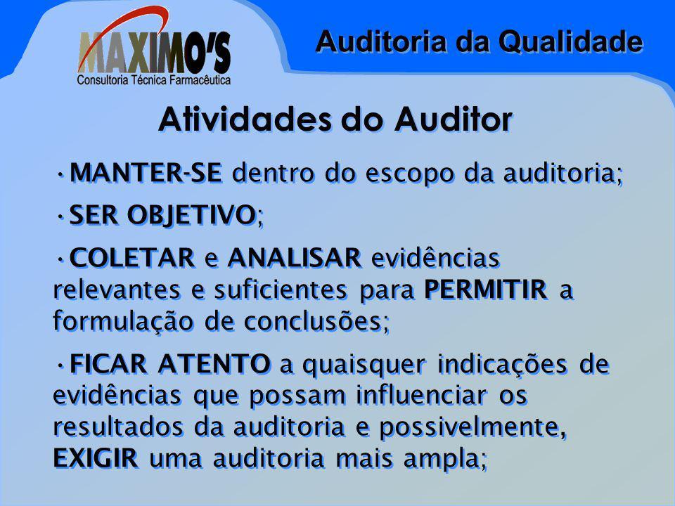 Auditoria da Qualidade Atividades do Auditor MANTER-SE dentro do escopo da auditoria; SER OBJETIVO; COLETAR e ANALISAR evidências relevantes e suficientes para PERMITIR a formulação de conclusões; FICAR ATENTO a quaisquer indicações de evidências que possam influenciar os resultados da auditoria e possivelmente, EXIGIR uma auditoria mais ampla; MANTER-SE dentro do escopo da auditoria; SER OBJETIVO; COLETAR e ANALISAR evidências relevantes e suficientes para PERMITIR a formulação de conclusões; FICAR ATENTO a quaisquer indicações de evidências que possam influenciar os resultados da auditoria e possivelmente, EXIGIR uma auditoria mais ampla;