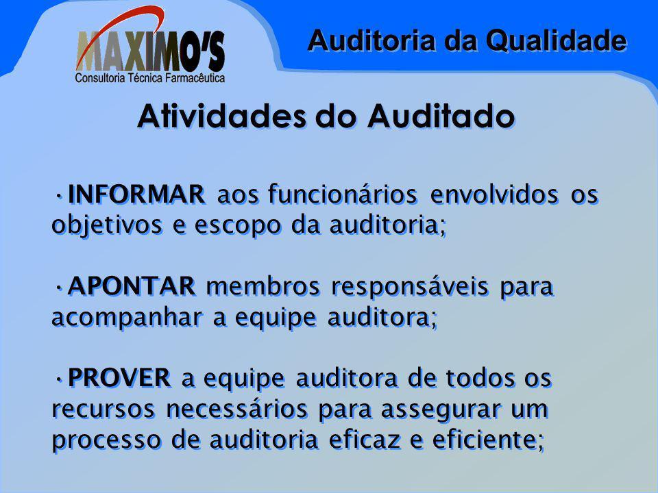 Auditoria da Qualidade Atividades do Auditado INFORMAR aos funcionários envolvidos os objetivos e escopo da auditoria; APONTAR membros responsáveis pa