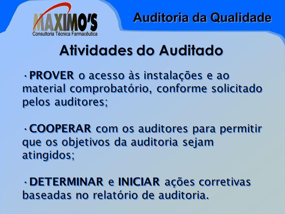 Auditoria da Qualidade Atividades do Auditado PROVER o acesso às instalações e ao material comprobatório, conforme solicitado pelos auditores; COOPERAR com os auditores para permitir que os objetivos da auditoria sejam atingidos; DETERMINAR e INICIAR ações corretivas baseadas no relatório de auditoria.