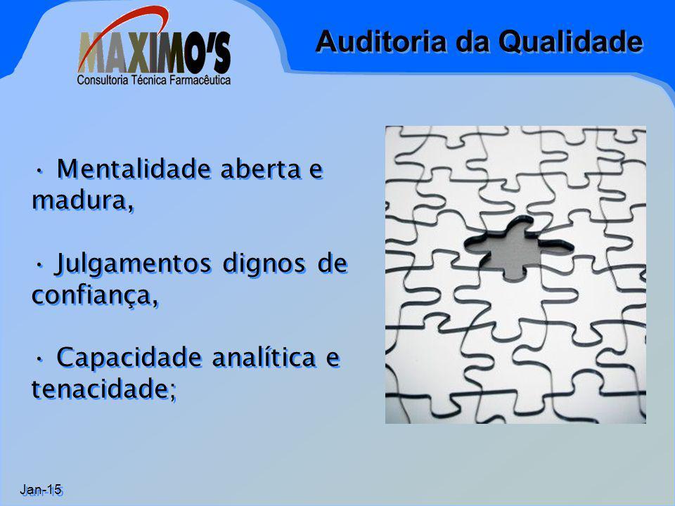 Auditoria da Qualidade Jan-15 Mentalidade aberta e madura, Julgamentos dignos de confiança, Capacidade analítica e tenacidade; Mentalidade aberta e ma