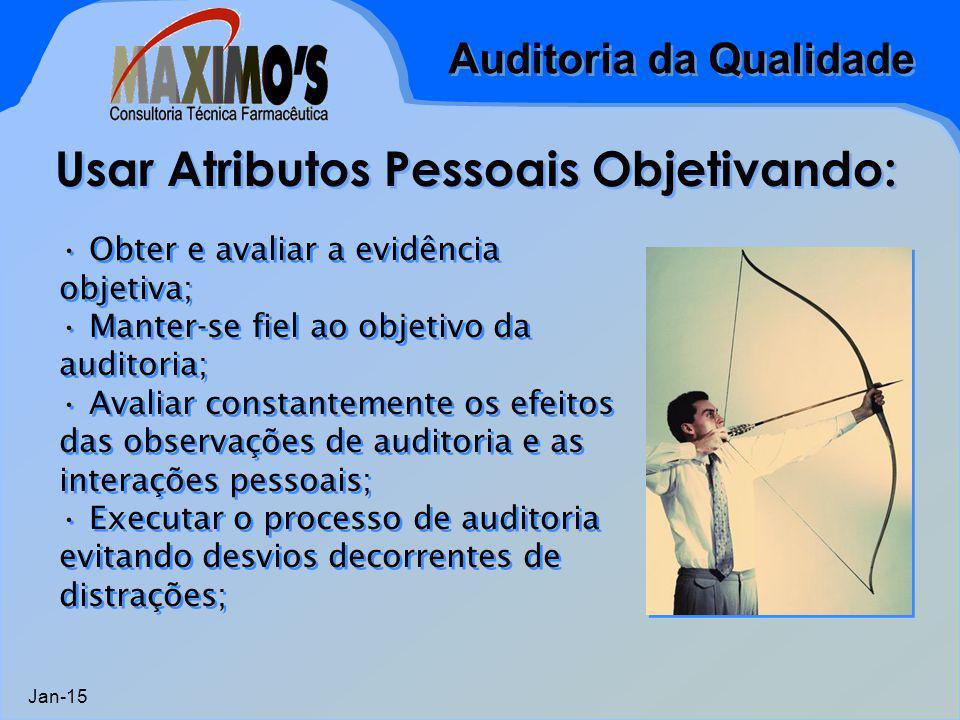 Auditoria da Qualidade Jan-15 Usar Atributos Pessoais Objetivando: Obter e avaliar a evidência objetiva; Manter-se fiel ao objetivo da auditoria; Avaliar constantemente os efeitos das observações de auditoria e as interações pessoais; Executar o processo de auditoria evitando desvios decorrentes de distrações; Obter e avaliar a evidência objetiva; Manter-se fiel ao objetivo da auditoria; Avaliar constantemente os efeitos das observações de auditoria e as interações pessoais; Executar o processo de auditoria evitando desvios decorrentes de distrações;