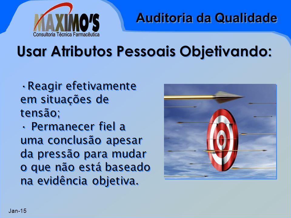 Auditoria da Qualidade Jan-15 Usar Atributos Pessoais Objetivando: Reagir efetivamente em situações de tensão; Permanecer fiel a uma conclusão apesar