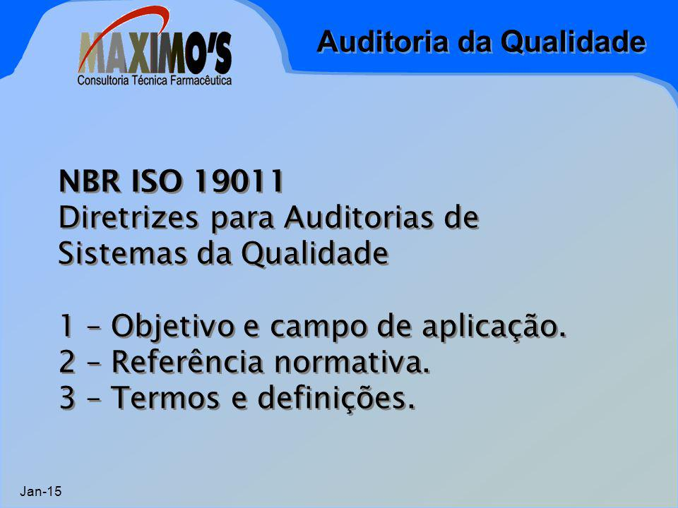 Auditoria da Qualidade Jan-15 NBR ISO 19011 Diretrizes para Auditorias de Sistemas da Qualidade 1 – Objetivo e campo de aplicação. 2 – Referência norm