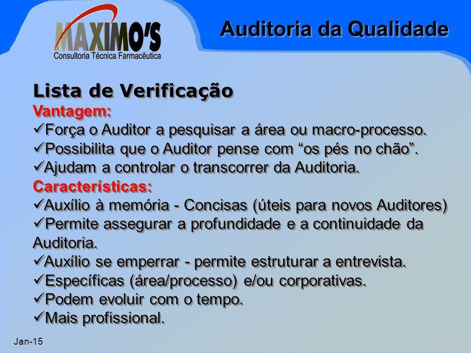 Auditoria da Qualidade Jan-15 Lista de Verificação Vantagem: Força o Auditor a pesquisar a área ou macro-processo. Possibilita que o Auditor pense com