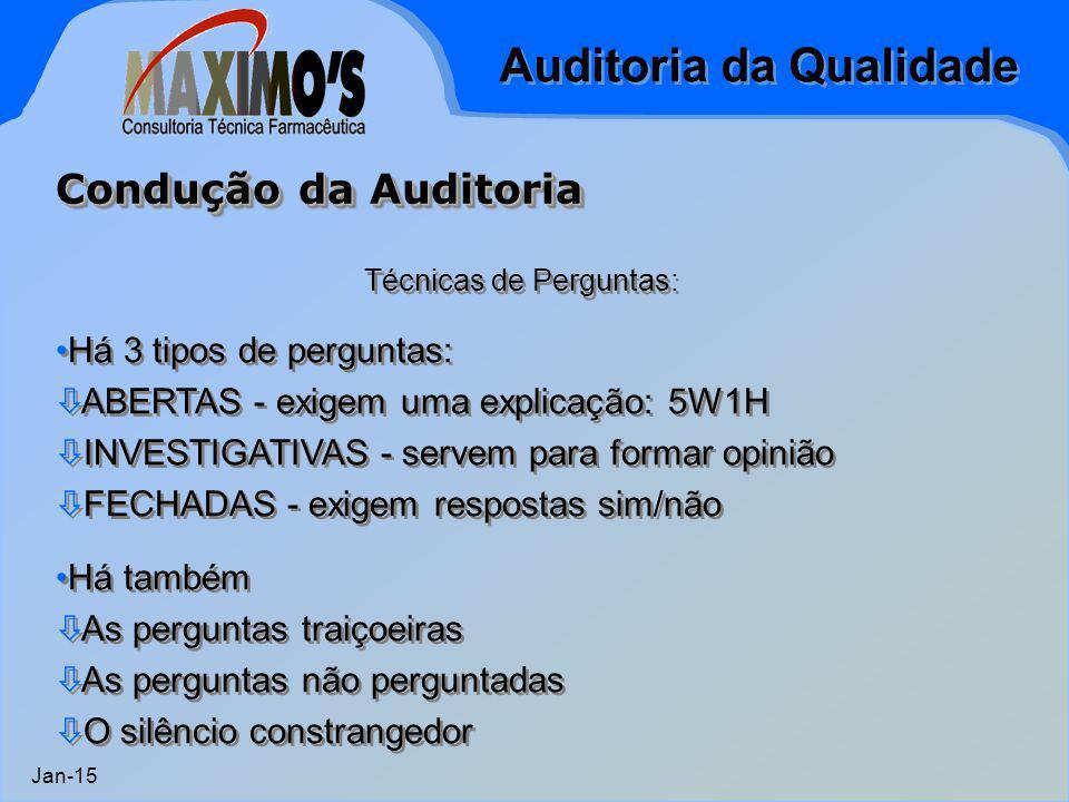 Auditoria da Qualidade Jan-15 Técnicas de Perguntas: Há 3 tipos de perguntas:  ABERTAS - exigem uma explicação: 5W1H  INVESTIGATIVAS - servem para f
