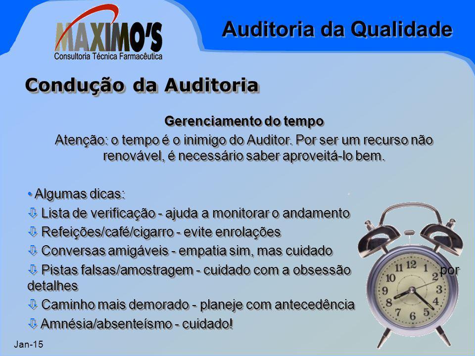 Auditoria da Qualidade Jan-15 Gerenciamento do tempo Atenção: o tempo é o inimigo do Auditor. Por ser um recurso não renovável, é necessário saber apr