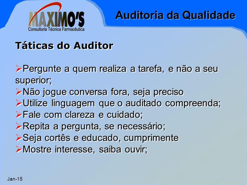 Auditoria da Qualidade Jan-15 Táticas do Auditor  Pergunte a quem realiza a tarefa, e não a seu superior;  Não jogue conversa fora, seja preciso  U