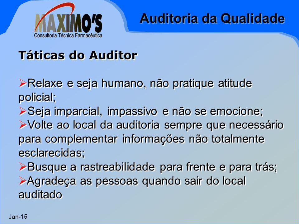 Auditoria da Qualidade Jan-15 Táticas do Auditor  Relaxe e seja humano, não pratique atitude policial;  Seja imparcial, impassivo e não se emocione;