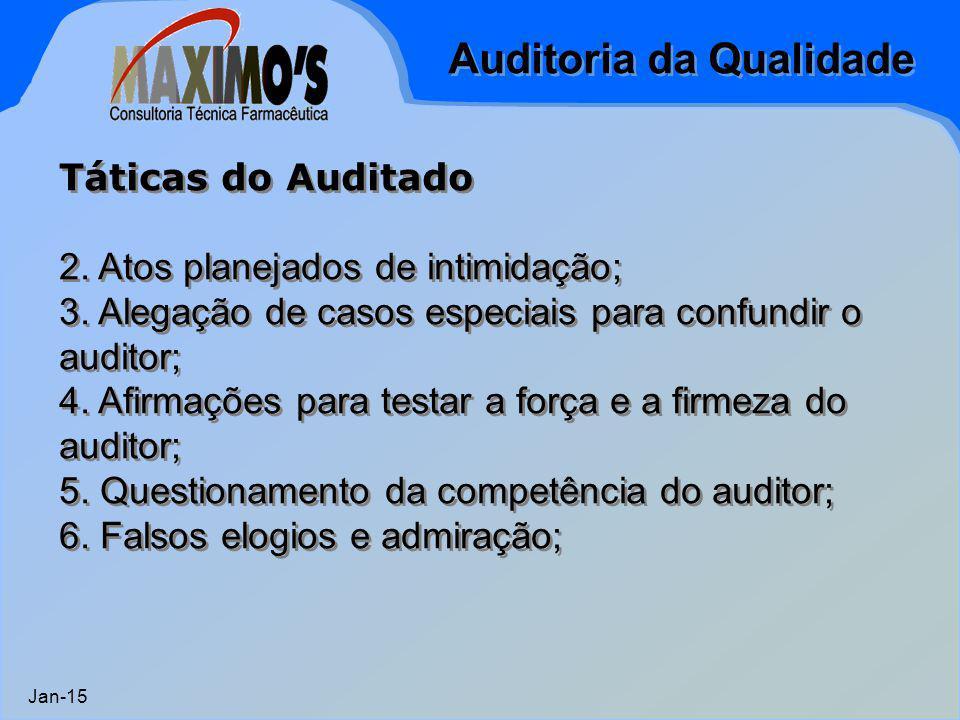 Auditoria da Qualidade Jan-15 Táticas do Auditado 2. Atos planejados de intimidação; 3. Alegação de casos especiais para confundir o auditor; 4. Afirm