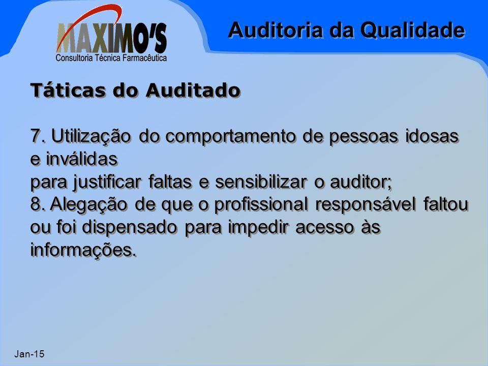 Auditoria da Qualidade Jan-15 Táticas do Auditado 7. Utilização do comportamento de pessoas idosas e inválidas para justificar faltas e sensibilizar o