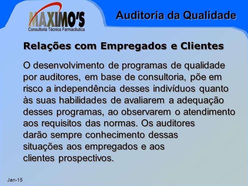 Auditoria da Qualidade Jan-15 O desenvolvimento de programas de qualidade por auditores, em base de consultoria, põe em risco a independência desses i