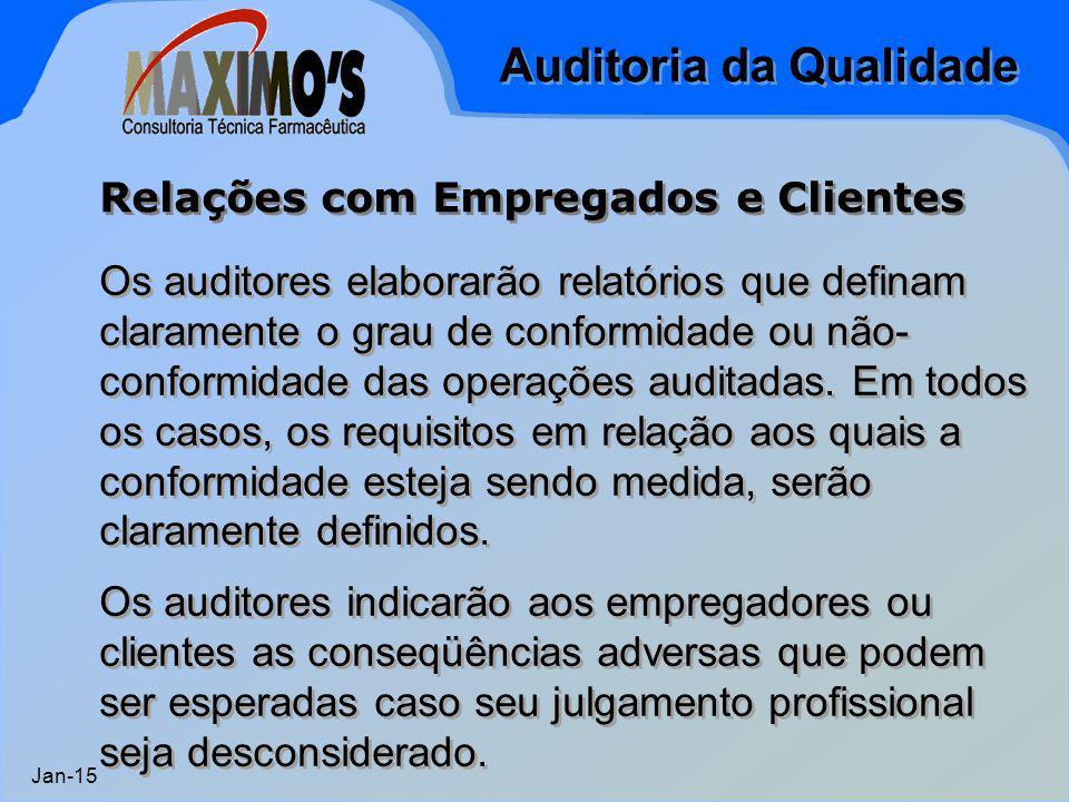 Auditoria da Qualidade Jan-15 Os auditores elaborarão relatórios que definam claramente o grau de conformidade ou não- conformidade das operações audi