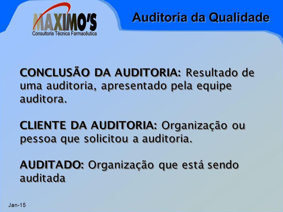 Auditoria da Qualidade Jan-15 CONCLUSÃO DA AUDITORIA: Resultado de uma auditoria, apresentado pela equipe auditora. CLIENTE DA AUDITORIA: Organização