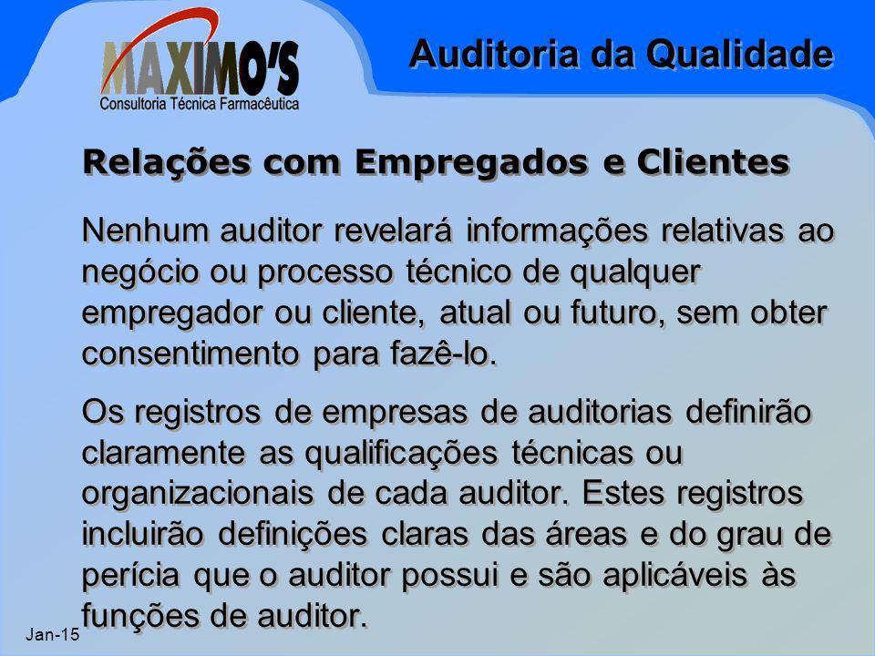 Auditoria da Qualidade Jan-15 Nenhum auditor revelará informações relativas ao negócio ou processo técnico de qualquer empregador ou cliente, atual ou
