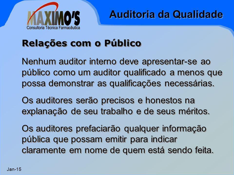 Auditoria da Qualidade Jan-15 Nenhum auditor interno deve apresentar-se ao público como um auditor qualificado a menos que possa demonstrar as qualifi