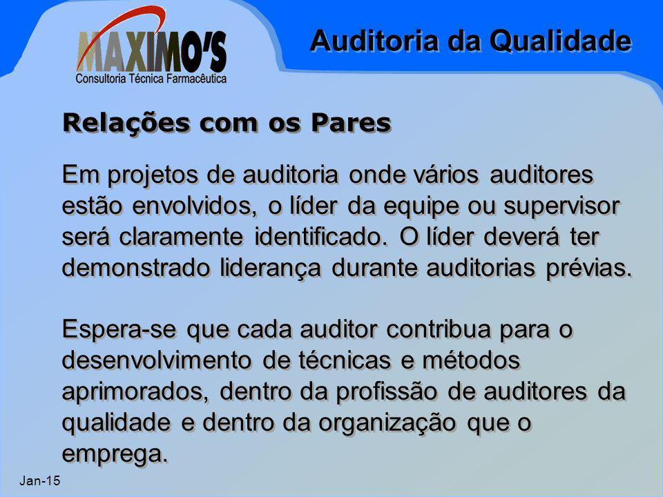 Auditoria da Qualidade Jan-15 Em projetos de auditoria onde vários auditores estão envolvidos, o líder da equipe ou supervisor será claramente identif