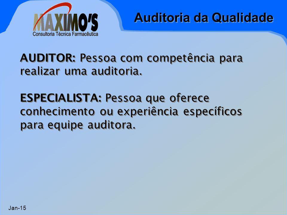 Auditoria da Qualidade Jan-15 AUDITOR: Pessoa com competência para realizar uma auditoria. ESPECIALISTA: Pessoa que oferece conhecimento ou experiênci