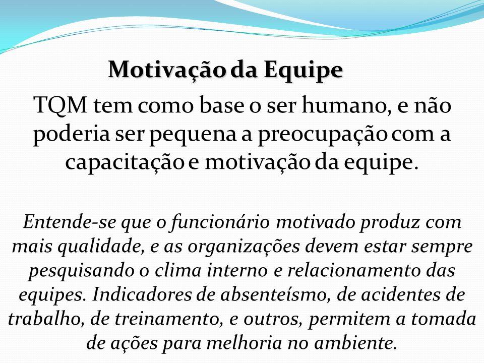 TQM tem como base o ser humano, e não poderia ser pequena a preocupação com a capacitação e motivação da equipe.