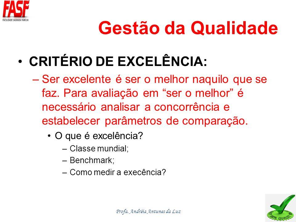 Gestão da Qualidade CRITÉRIO DE EXCELÊNCIA: –Ser excelente é ser o melhor naquilo que se faz.