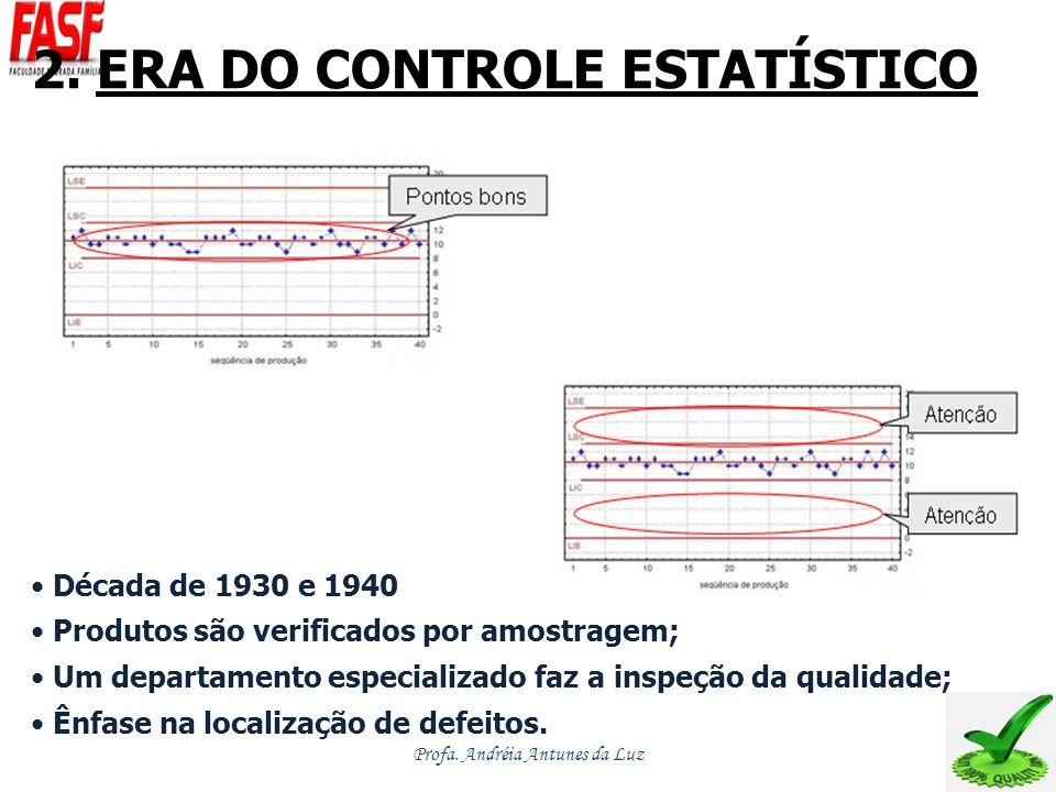 2. ERA DO CONTROLE ESTATÍSTICO Década de 1930 e 1940 Produtos são verificados por amostragem; Um departamento especializado faz a inspeção da qualidad