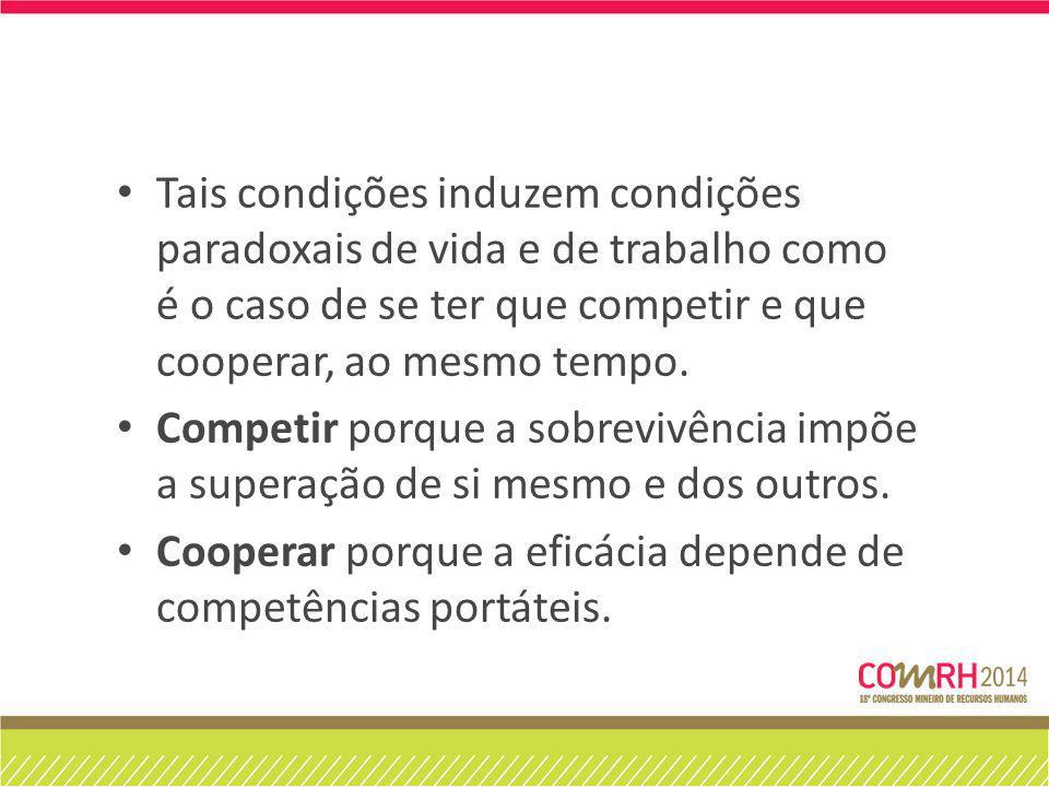 Tais condições induzem condições paradoxais de vida e de trabalho como é o caso de se ter que competir e que cooperar, ao mesmo tempo.