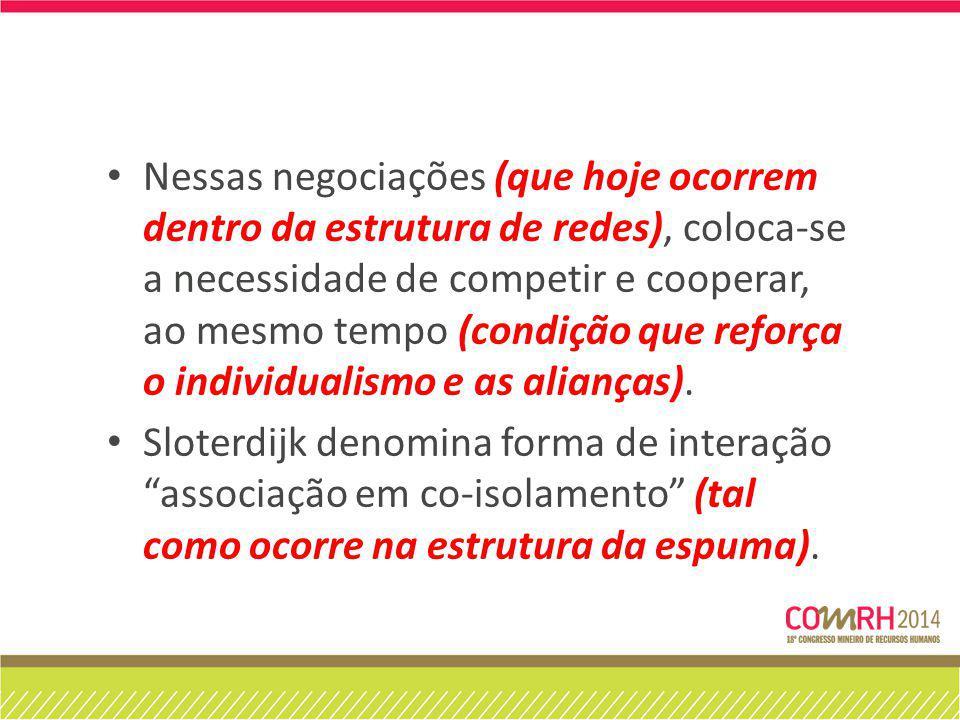 Nessas negociações (que hoje ocorrem dentro da estrutura de redes), coloca-se a necessidade de competir e cooperar, ao mesmo tempo (condição que reforça o individualismo e as alianças).