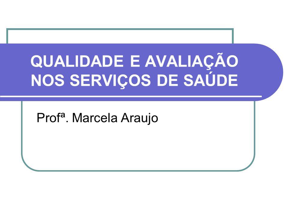 QUALIDADE E AVALIAÇÃO NOS SERVIÇOS DE SAÚDE Profª. Marcela Araujo