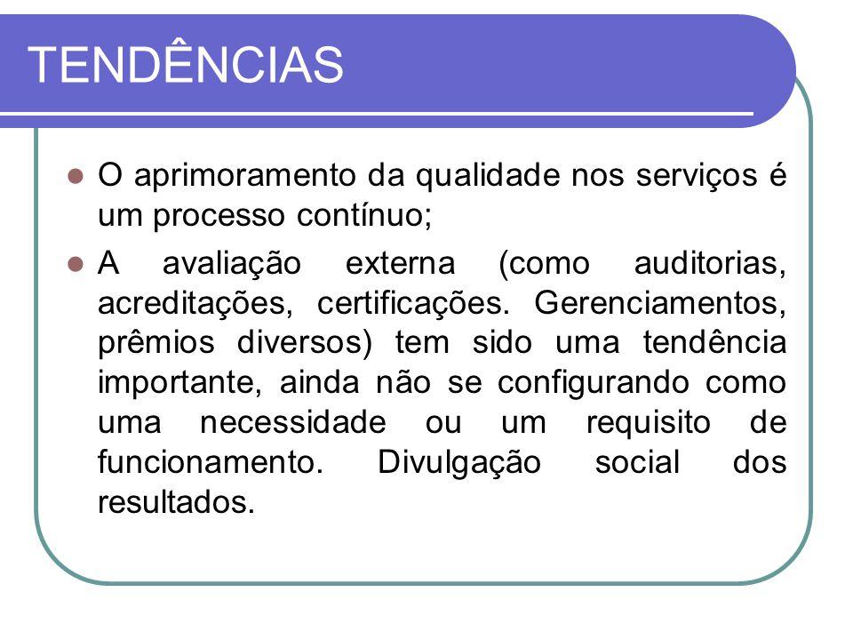 TENDÊNCIAS O aprimoramento da qualidade nos serviços é um processo contínuo; A avaliação externa (como auditorias, acreditações, certificações. Gerenc