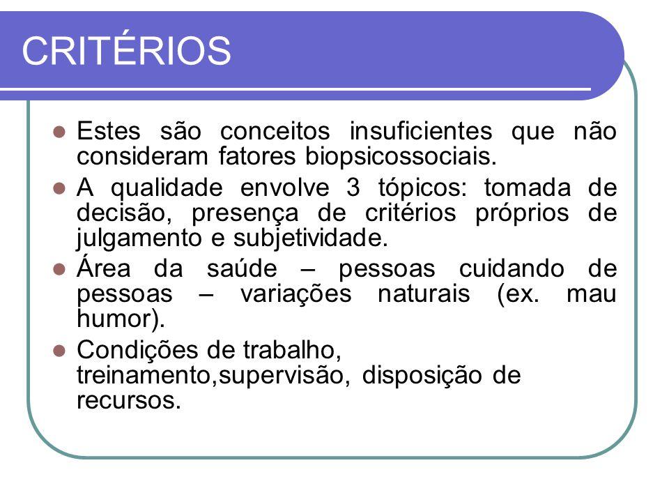 CRITÉRIOS Estes são conceitos insuficientes que não consideram fatores biopsicossociais. A qualidade envolve 3 tópicos: tomada de decisão, presença de